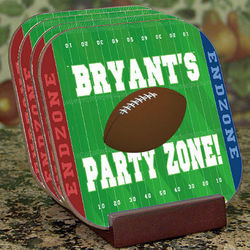 Football Party Zone Personalized Coaster Set