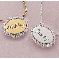 Personalized Oval Pendant Necklace
