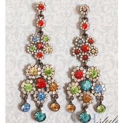 Flashy Jewel Cluster Chandelier Drop Earrings
