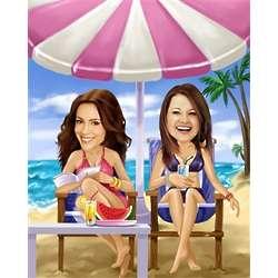 Life's a Beach Women's Caricature Art Print