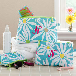 Personalized Daisies Cosmetic Bag Set