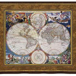 World Map Tapestry with Mythological Figures