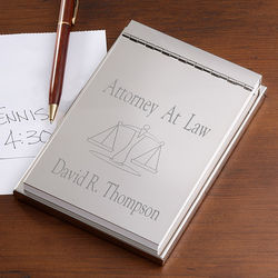 Engraved Silver Notepad for Lawyers