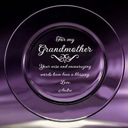 Grandmother Etched Crystal Plate