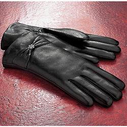 Rhinestone Wrist Accent Black Leather Gloves