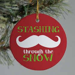 Ceramic Stashing Through the Snow Ornament