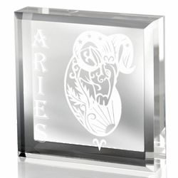 Aries Lucite Paperweight
