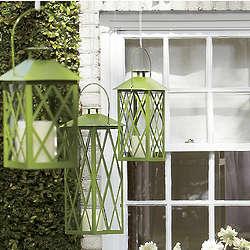 Glass-Paned Green Metal Candle Lanterns
