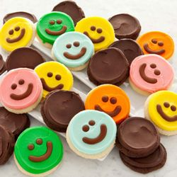 Happy Face Cookies and Triple Chocolate Cookies Bow Gift Box