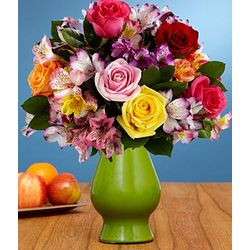 Smiles and Sunshine Flower Bouquet in Green Vase