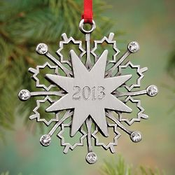 Personalized Jeweled Pewter Snowflake Ornament