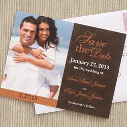 Paisley Design Photo Save the Date Wedding Cards
