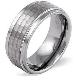 Square Diamond Cut Tungsten Ring