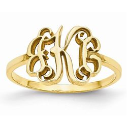 Ornate Monogram Ring in 10K Yellow Gold