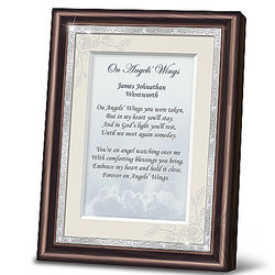 On Angels' Wings Personalized Framed Remembrance Poem