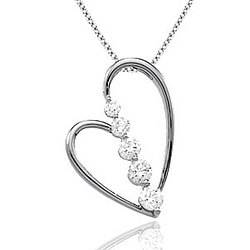 1/2 Carat Diamond 14k White Gold Unique Heart Journey Pendant