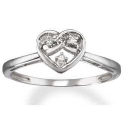 3 Stone Diamond Heart Promise Ring in 14k White Gold