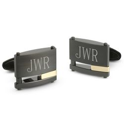 18k Gold Accented Black Steel Cuff Links