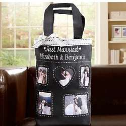 Personalized Just Married Black and White Photo Tote