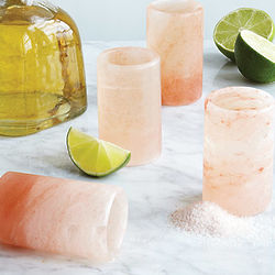 Himalayan Salt Tequila Glasses with Bamboo Tray