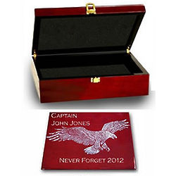 Patriotic Rosewood Memory Box with Silver Accents