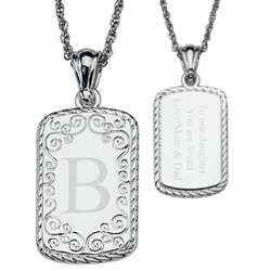 Engraved Initial Silver-Plated Rectangle Pendant