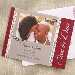 Filigree Design Save the Date Photo Wedding Cards