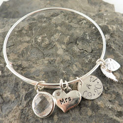 Bride's Personalized Mrs. Hand Stamped Bangle