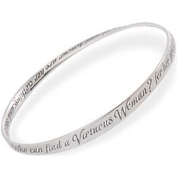 Sterling Silver Virtuous Woman Mobius Bangle