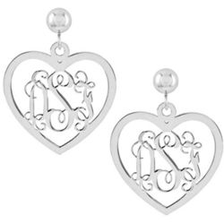 14K White Gold Heart Monogram Earrings