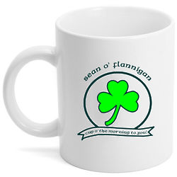 Cup O' the Morning Personalized Irish Shamrock Coffee Mug