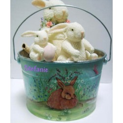 Personalized Painted Easter Bunny Bucket