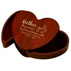 Rosewood Heart Trinket Box for Mother
