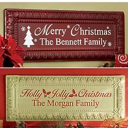Personalized Embossed Metal Christmas Signs