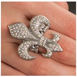 Jewel Encrusted Fleur De Lis Fashion Stretch Ring