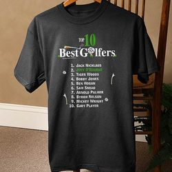 Personalized Top Ten Golfers Black T-Shirt