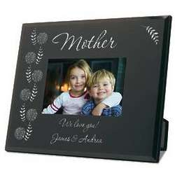 Mom's Personalized Black Glass Photo Frame