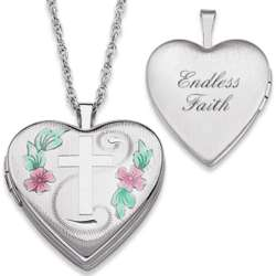 Sterling Silver Engraved Cross Floral Heart Locket Necklace