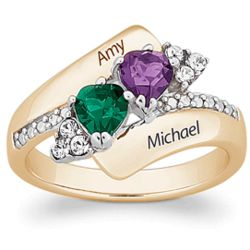 Couple's Crystal Heart Birthstone Name Ring