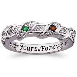 Sterling Silver Couple's Birthstone and Diamond Promise Ring