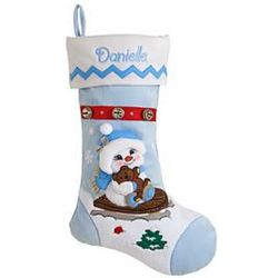 Girl with Bear Personalized Snow Buddies Christmas Stocking
