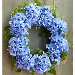 Faux Blue Hydrangea Wreath