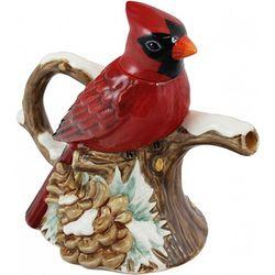 Winter Cardinal Stoneware Teapot
