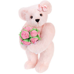 Pink Rose Bouquet Teddy Bear with Bow