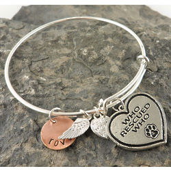 Who Rescued Who Paw Print Personalized Hand Stamped Bangle