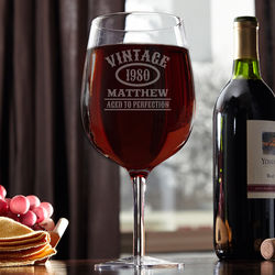 Personalized Aged to Perfection Extra Large Wine Glass