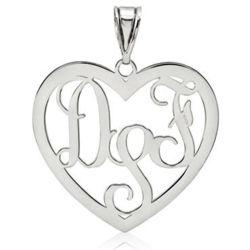 14 Karat White Gold Heart Monogram Pendant