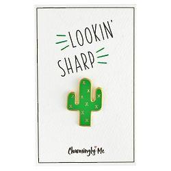 Lookin' Sharp Enamel Cactus Lapel Pin on Gift Card