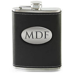 Personalized Black Leather Wrapped Stainless Steel Flask