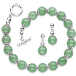 Jade Bead Bracelet & Earrings Set